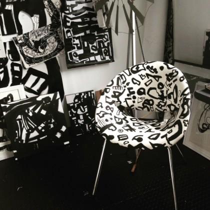 lovingly handpainted + upholstered bucket chair